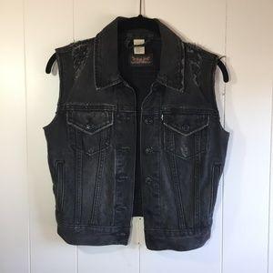 Levi's Distressed Black Denim Jean Jacket Vest